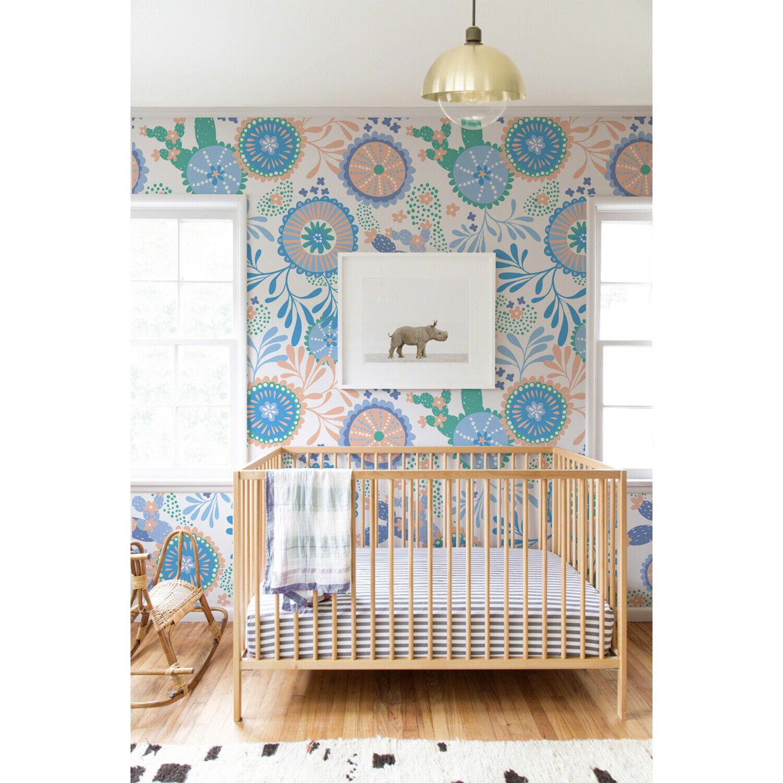 Non-Woven wallpaper traditional Farbeful vintage Blau Kids Nursery Floral Mural