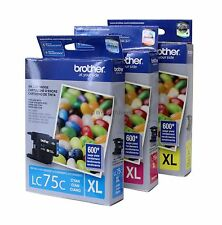 Brother LC75 XL Cyan Magenta Yellow Ink Cartridge Set Genuine New Sealed