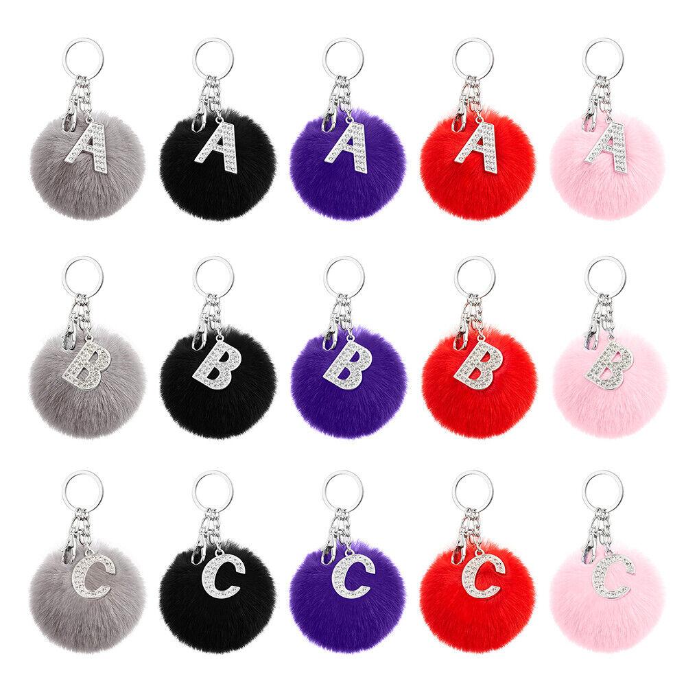 2 en 1 Llavero pompón Fluffy + letra del alfabeto Cristal inicial, Regalo De Navidad