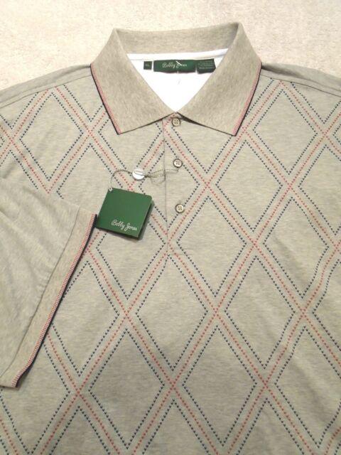 Nwt Bobby Jones X-H2O Striped Cotton Polo Shirt Mens Size Medium  Graphite R12