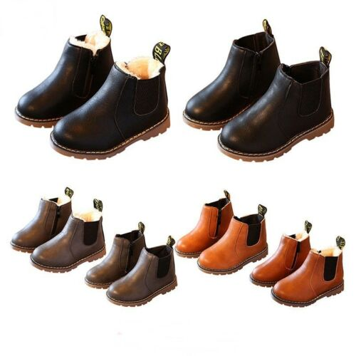 Kids Leather Ankle Boots Ankle Boots Martin Fur Lined Winter Boots Anti-Slip New