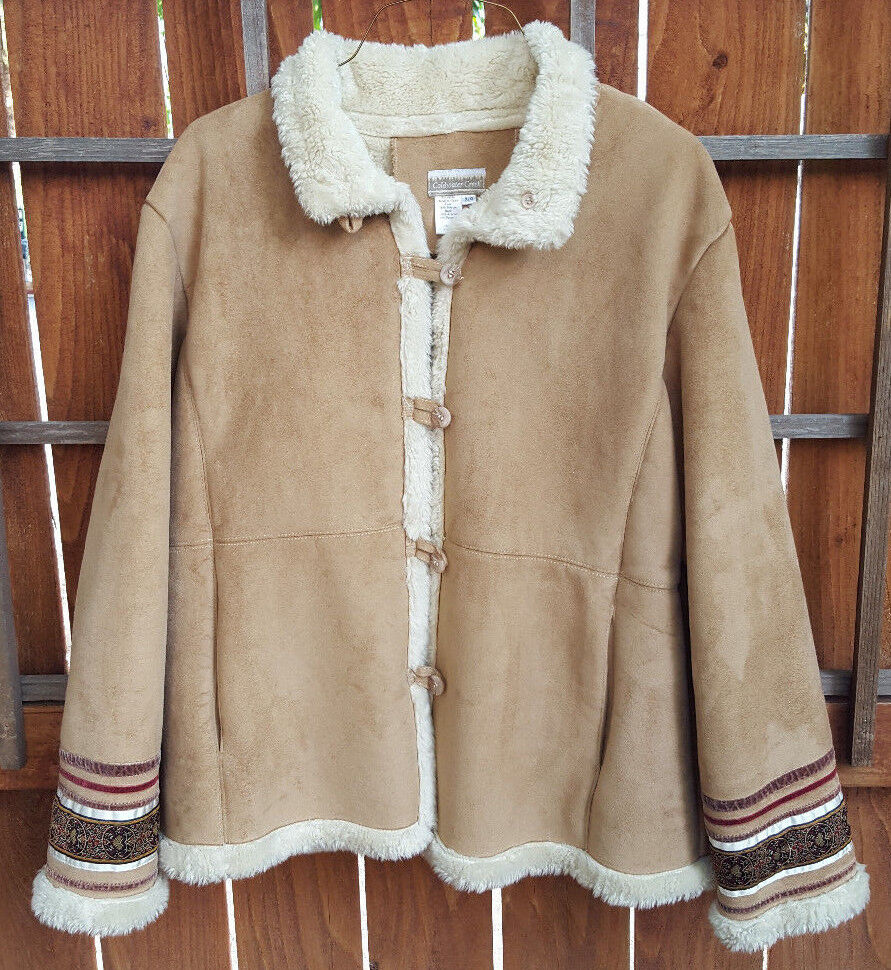Coldwater Creek Coat Coat-Faux Fur Lining-XLG-Button Up-Light Tan-Styled Sleeves