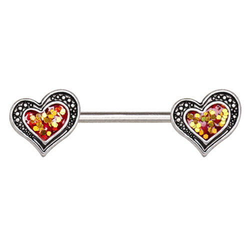Glittering Heart Nipple Bar Barbell 1.6mm x 15mm