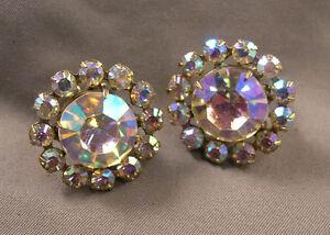 Vintage Earrings ON SALE Sweet Ribbon Silver Tone Clip On Earrings Aurora Borealis Rhinestone Center