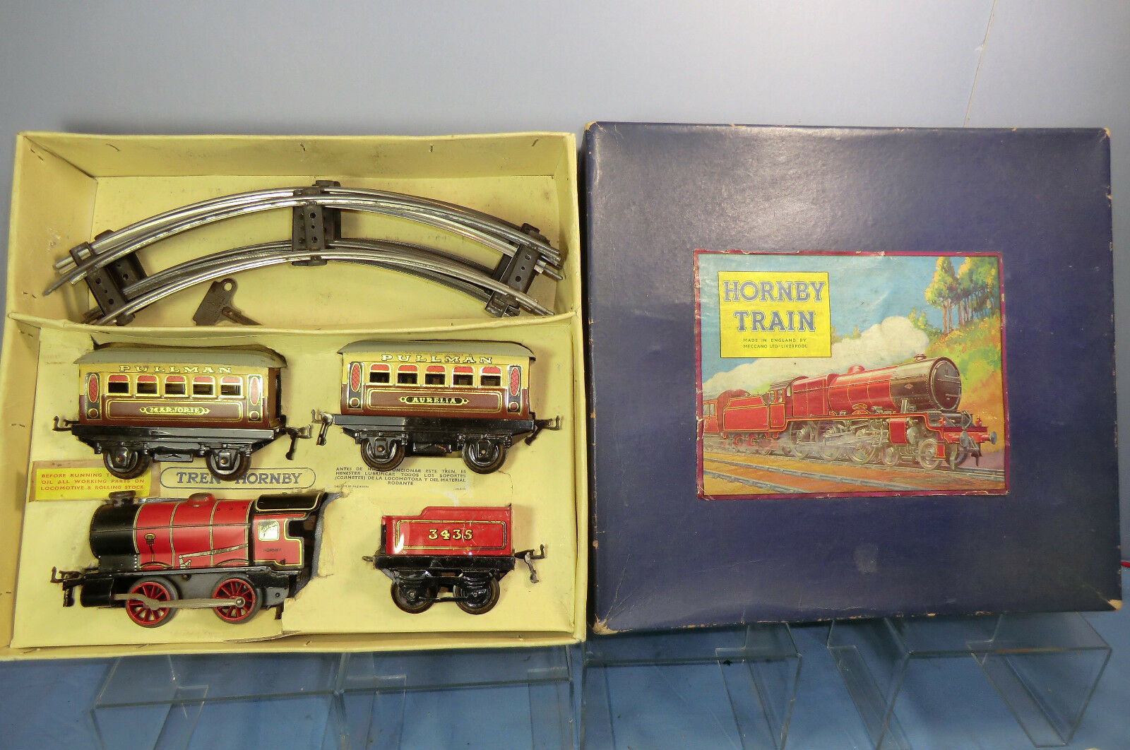 VINTAGE HORNBY  0  No. M1   PASSENGER SET ( OVERPRINTED FRENCH BOX )   VN MIB