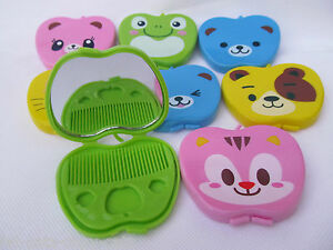 KIDS-LADIES-CUTE-ANIMAL-BEAR-FROG-CAT-COMPACT-MIRROR-amp-COMB-SET-GIFT-IDEA-UKSELL