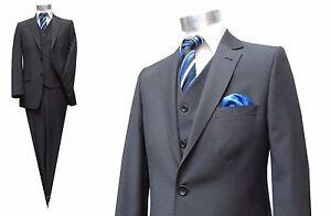 Streifen-Herren-Anzug-3-teilig-Gr-48-Dunkelgrau