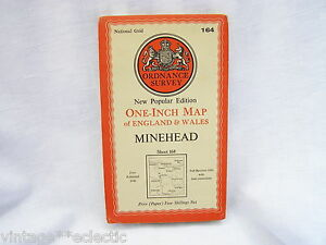 ORDNANCE-SURVEY-MAP-on-PAPER-of-MINEHEAD-OS-SHEET-164-REVISED-1946