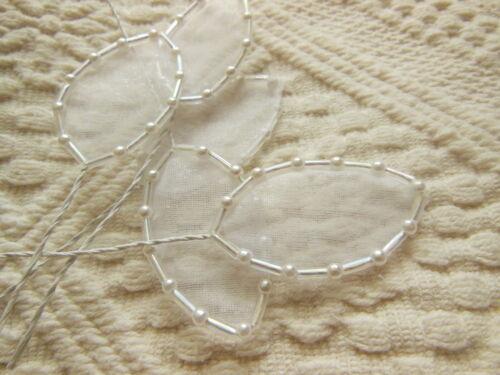 lot de 5 feuilles perlé irisé scrap création couture tige métal mariage petales