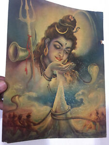 RARE-VINTAGE-OLD-ART-PAPER-PRINT-GLOSSY-GOD-SHIVA-HINDU-SAGAR-MANTHAN-BEAUTIFUL