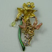 Very Large Kirks Folly Enamel & Swarowski Crystal Garden Fairy Gold Brooch Rare