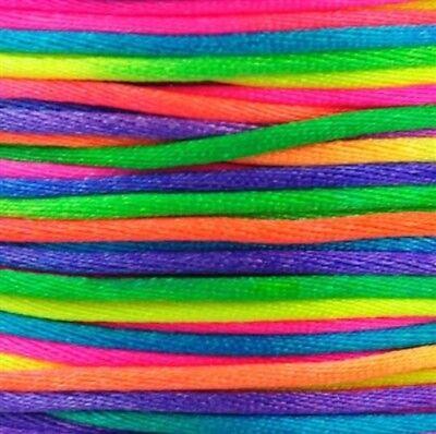 1mm Round Nylon Beading Elastic Cord Rainbow Multi Coloured 1M to 100M