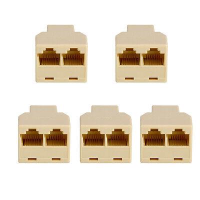 5PCS RJ45 CAT 5 6 Network LAN Ethernet Splitter Connector Adapter Female