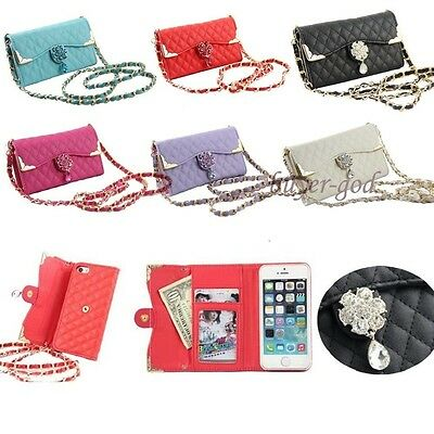 Bling Wristlet handbag Leather Flip Wallet Cover Case For iPhone X 8 6S 7 7Plus