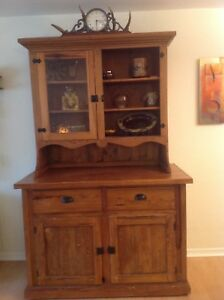 Image Is Loading Beautiful Antique Pine Hutch With Wavey Glass Doors