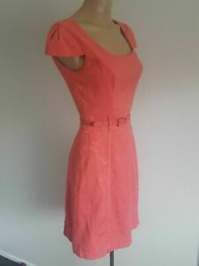 EUC size 6 Review dress with belt. pink cap sleeve