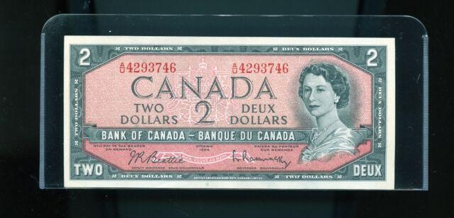1954 Bank of Canada $2 Beattie Rasminsky UNC Wl14