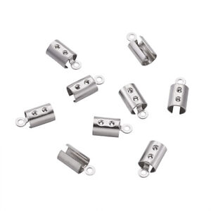 200Pcs Stainless Steel Column Cord Ends Fit For 1mm Rhinestone Crafts 10.5x5x5mm
