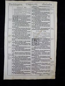 Details about 1611 KING JAMES BIBLE LEAF PAGE * BOOK OF PROVERBS* 7:1-9:13  * THE HARLOT* VGC