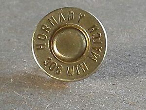 .308 Caliber Bullet Lapel Pin. Unique un-dented primer! Most caliber available