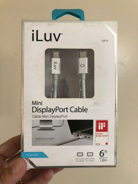 100% Kwaliteit New Iluv 6 Ft. Apple Mini Display Port Cable Shielded Cable 2560×1600 Resolution