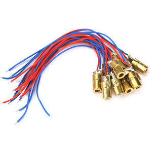 10pcs-650nm-6mm-3V-5mW-Laser-Dot-Diode-Module-Head-With-Red-Dot-Copper-Brand-New