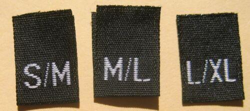 250 pcs BLACK WOVEN CLOTHING LABEL SIZE TAGS  S//M M//L 83pcs each L//XL