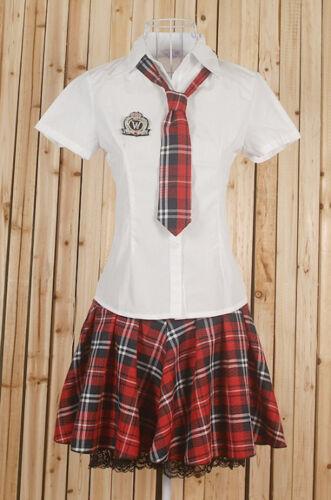 Girls Womens High Shool Uniform Checks Skirt Shorts Sleeves Tops Shirts Costume