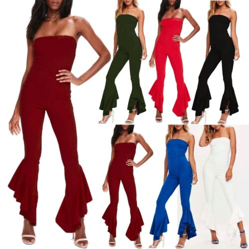 Women Casual Boobtube Flared Asymmetric Frill Wide Leg Palazzo Playsuit Jumpsuit