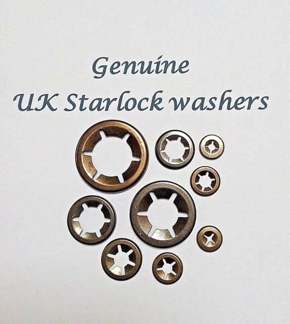 Genuine Starlock Retaining Push on Washers for Round Shafts 8mm pack of 10