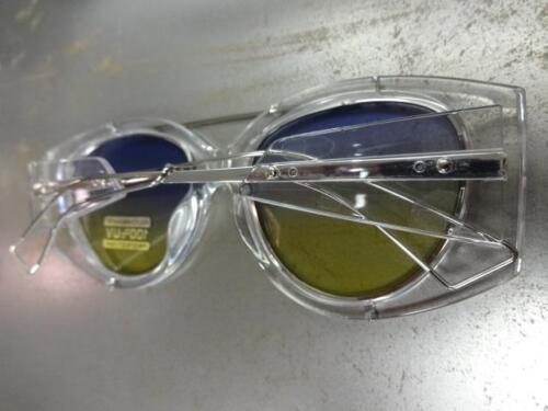 New CLASSIC VINTAGE RETRO Style SUN GLASSES Transparent Frame Blue /& Yellow Lens