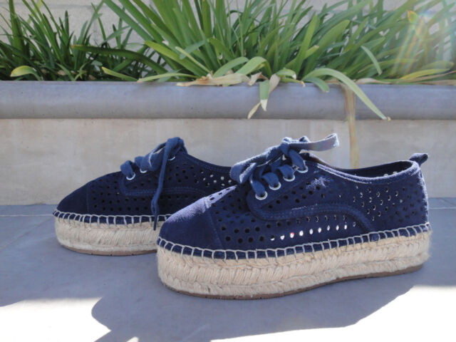 5d895f737f712 J/slides Rileyy Navy Perforated Suede Upper Espadrille Laced Sneaker WMNS  Us7