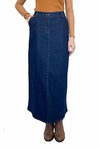 Ladies-Office-Full-Length-Long-A-line-Blue-Denim-Skirt-UK-8-10-12-14-16-18-20-22