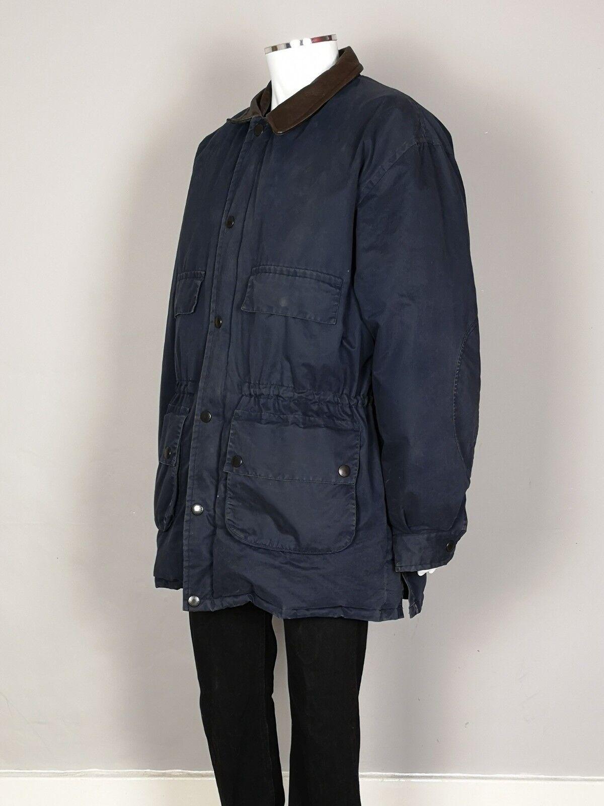 Herren Nautica Leder Collar Down Filled Padded Coat Blau Winter Größe XXL