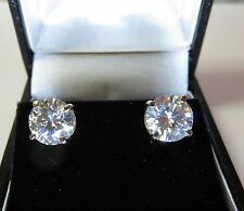 GENUINE MOISSANITE DIAMOND STUDS EARRINGS 9 CARAT SOLID WHITE GOLD 6.5mm vvs1