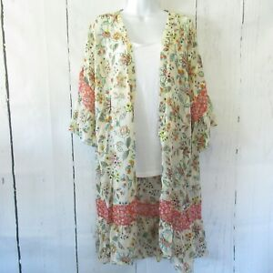 New-Gigio-By-Umgee-Kimono-L-Large-Cream-Floral-Ruffle-Prairie-Boho-Peasant
