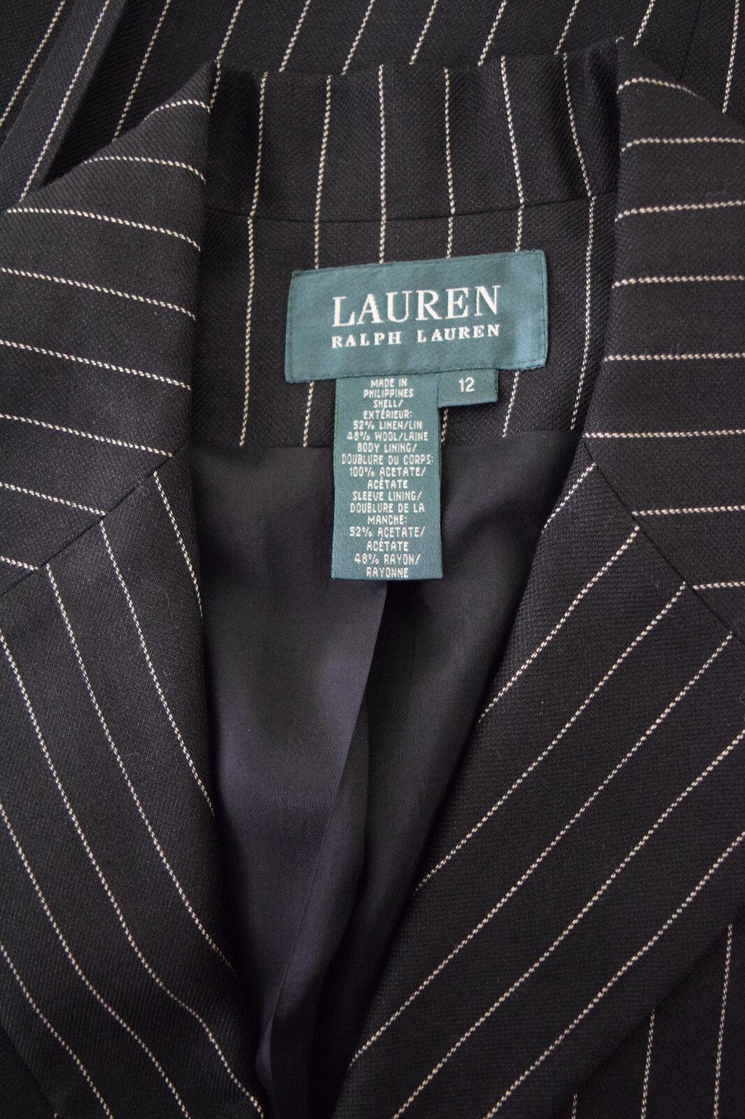 Ralph Lauren Womens Wool linen Black Striped Care… - image 3