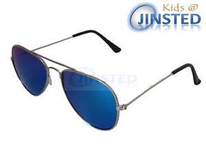 Enfants-a-Reflets-Bleu-Pilote-Lunettes-de-Soleil-Reflectif-Nuances-UV400-KA003