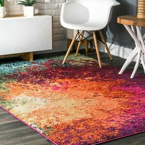 Nuloom Contemporary Modern Abstract Area Rug In Pink Blue Orange Green Multi Ebay