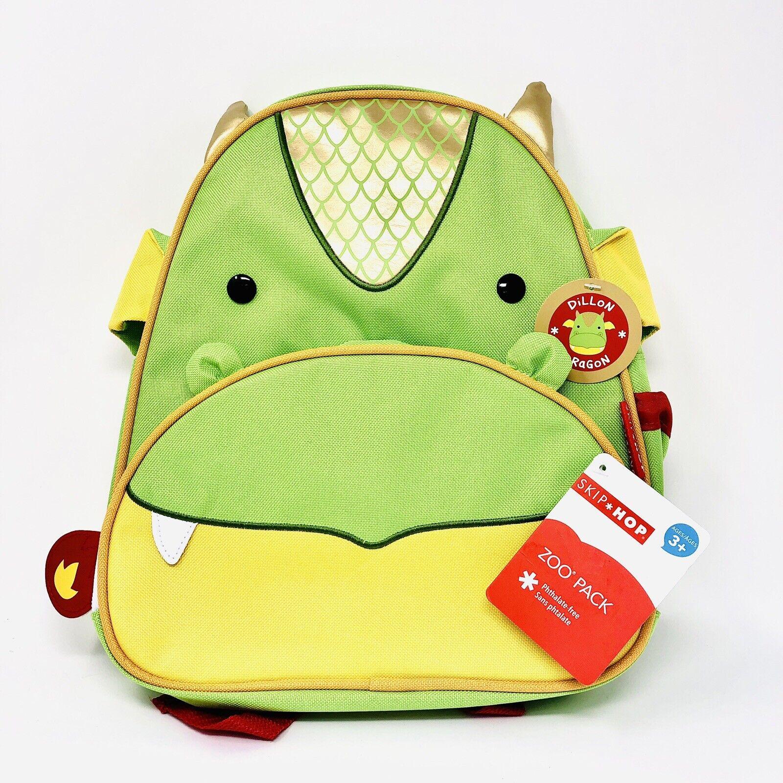 Skip Hop Zoo Pack Dillon Dragon Backpack Book Bag Pre-K Toddler 3+ Green Yellow
