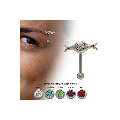 Sterling Silver 16G Eyebrow Shield Ring with Jewel - 5 Colors Available