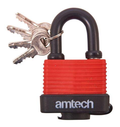 New Heavy Duty 50Mm Shackle Weather Proof Padlock Garage Door Security 4 Keys