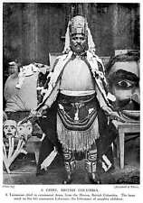 1913 Tsimpian Indian Chief In Ceremonial Dress From The Skeena British Columbia