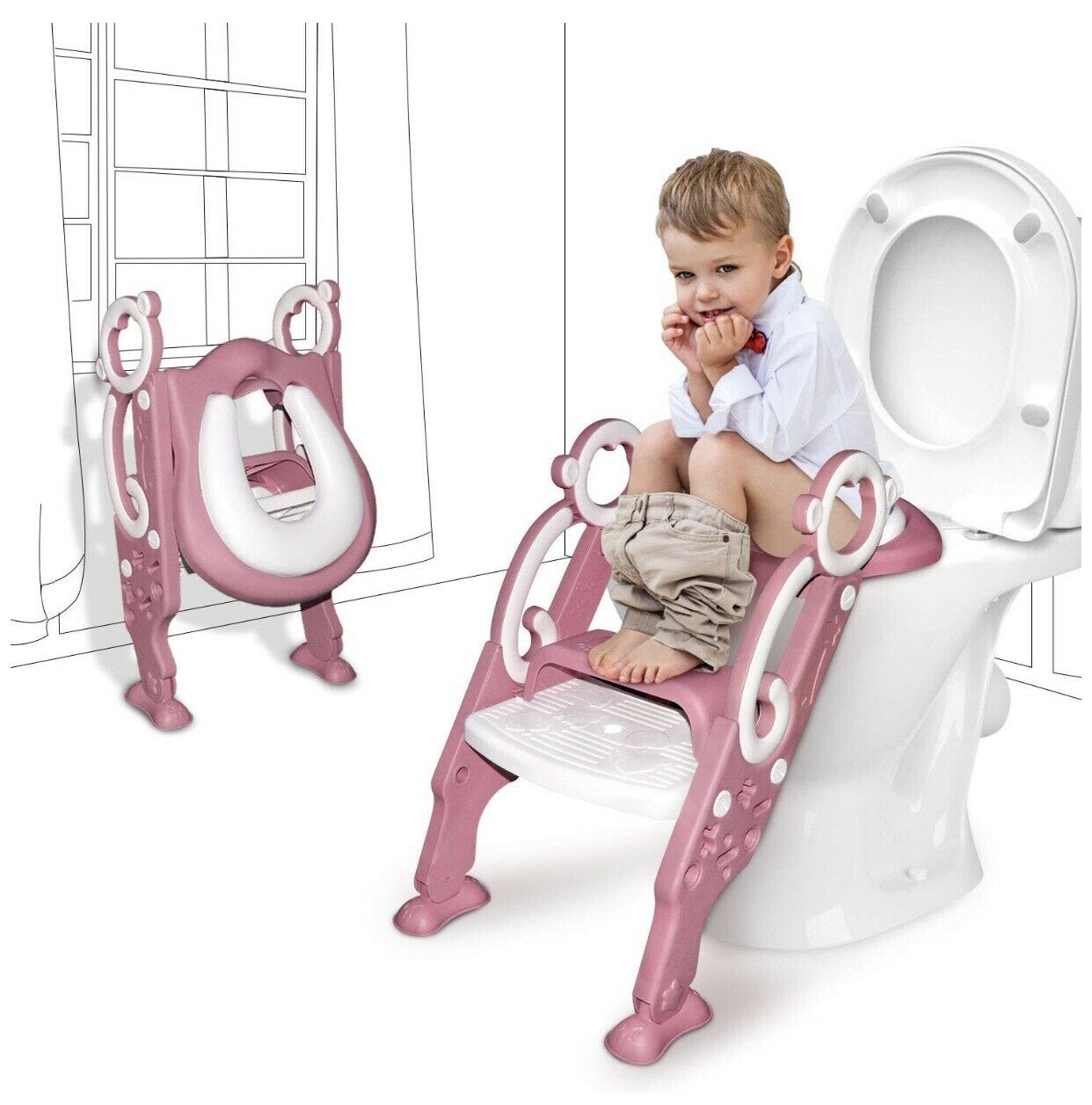 Kid Potty Training Seat Toilet Chair with Step Stool Ladder