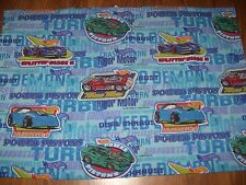 VTG HOT WHEELS TWIN FLAT SHEET 1997 Bedding Classic Toy Race Cars Blue Material