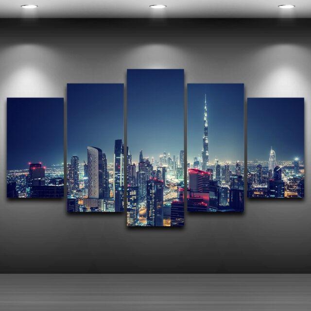 5 Piece Dubai City Night Scene Poster Top-Rated Canvas