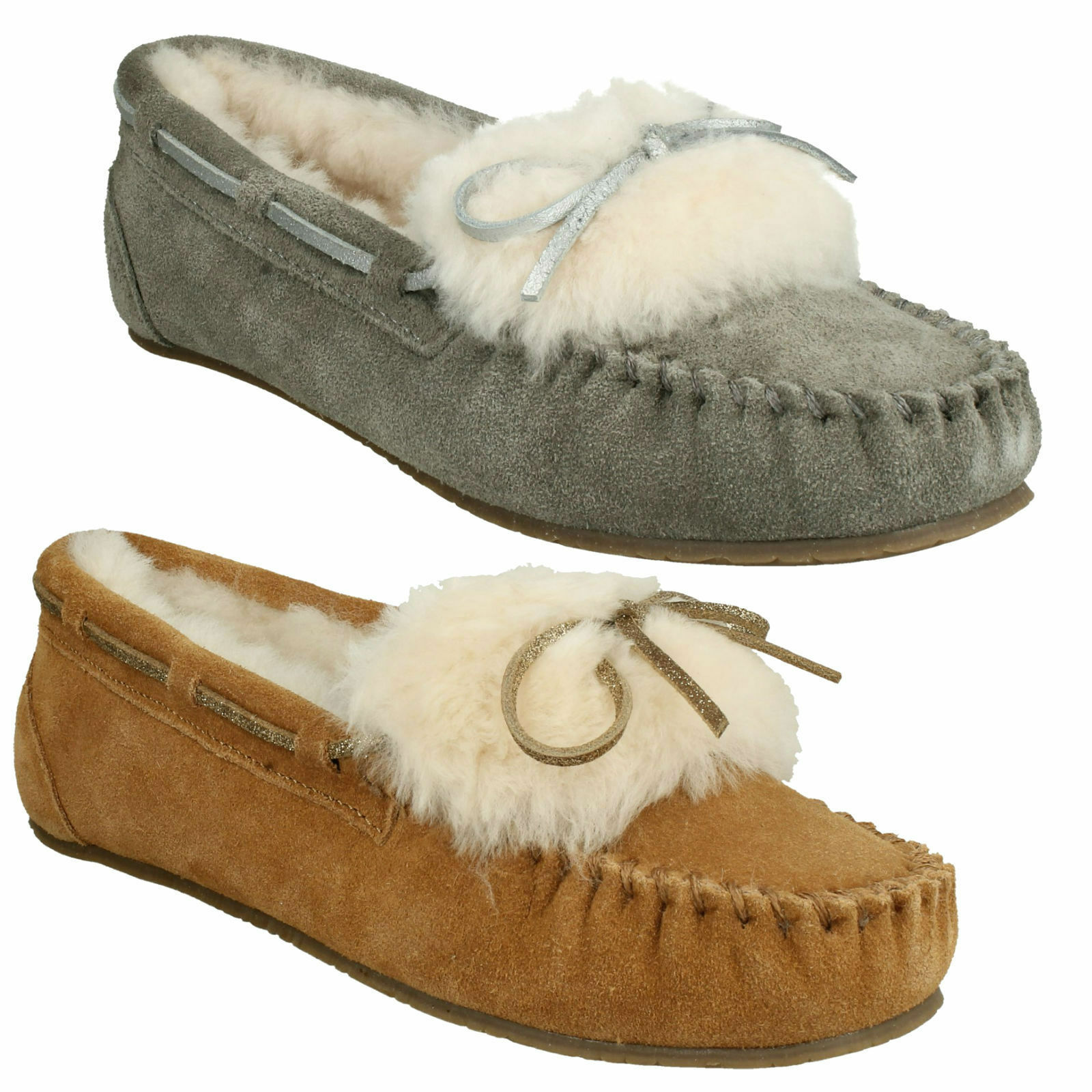 WARM GLAMOUR LADIES CLARKS SUEDE LEATHER FUR LINED INDOOR MOCCASIN BOAT SLIPPERS