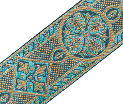 """3 Yard Gothic Medieval Style Jacquard Trim Sea Green Gold Vestment 2 3//8/"""" Wide"""