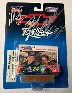 66db09b83f6 1995 Dale Earnhardt Sr   Jr   Jeff Gordon   Stewart Quad Signed 1 64 ...