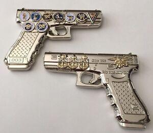 Usn Navy Seals Glock 19 Silver Gun Pistol 9mm Challenge